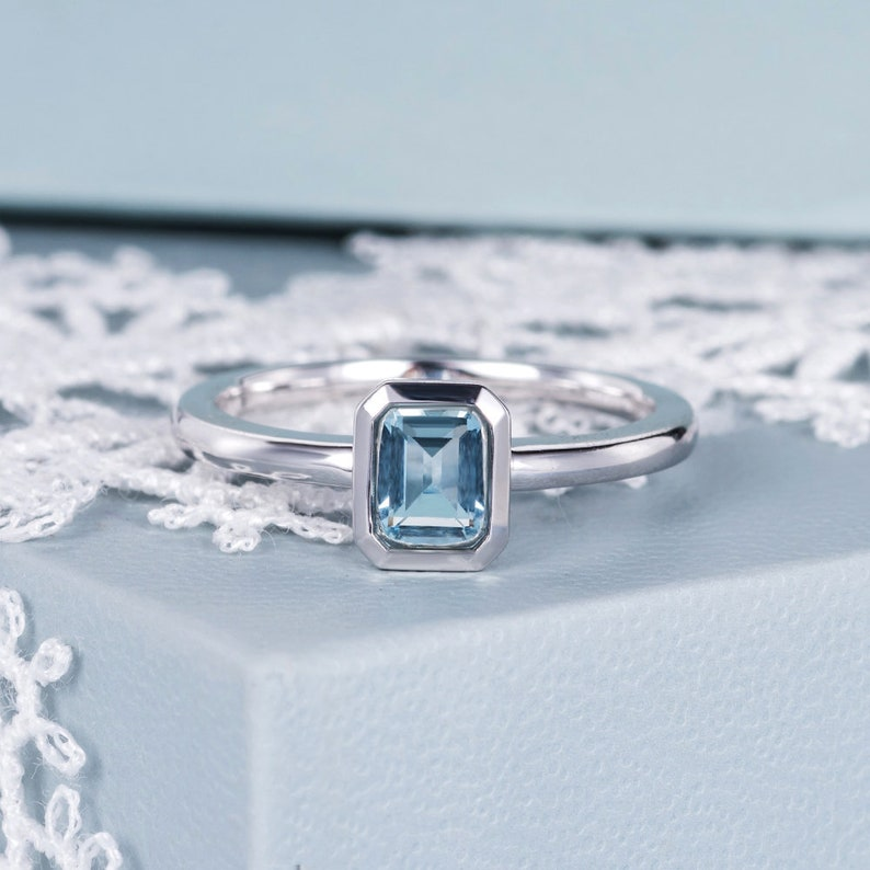 ce0c5ca6d9dad Bezel Set Aquamarine Engagement Ring Emerald Cut White Gold