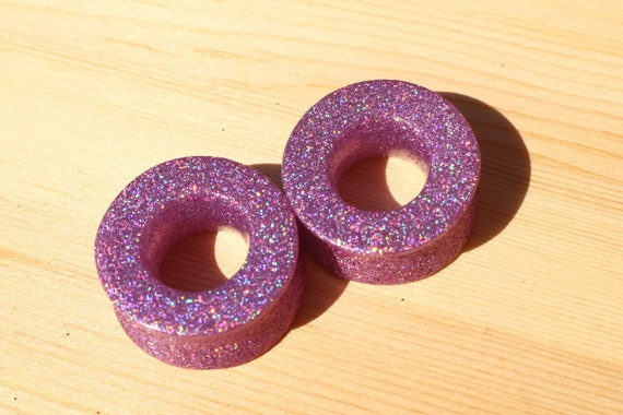 Magenta Glitter Shimmer Single Flared Ear PlugsSold as Pairs