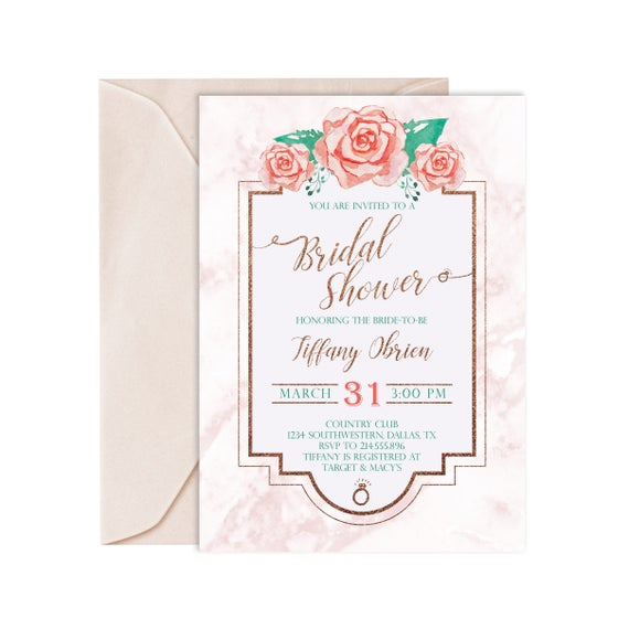 Bridal shower invitation bridal shower invites pink bridal etsy image 0 filmwisefo