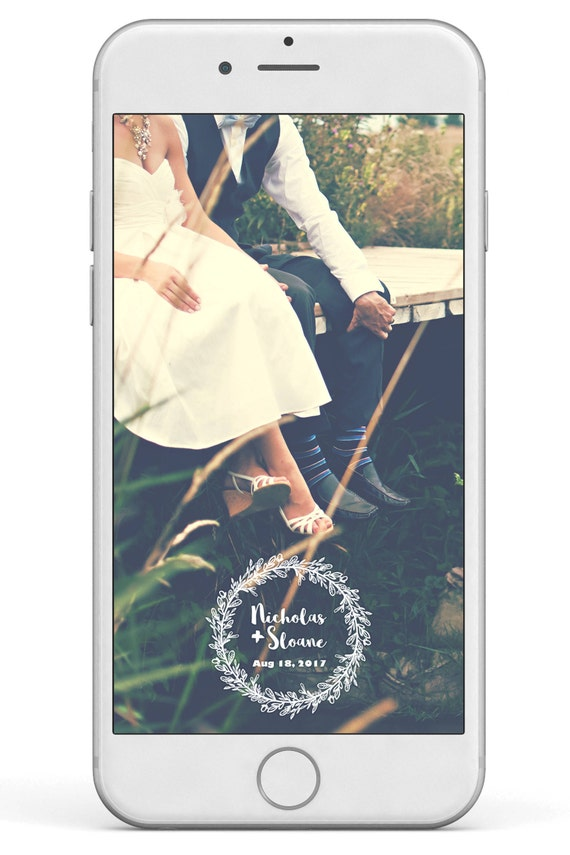 Snapchat Wedding filter- Wedding Custom Snapchat Filter, Wedding Geofilter  Snapchat, Personalized Wedding Filter, Rustic, Laurel