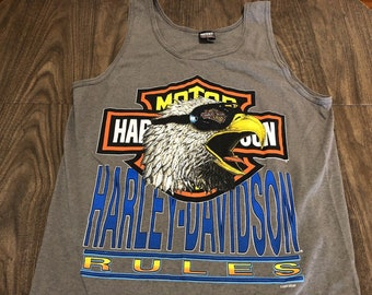 1788660d4d952 vintage Harley Davidson Rules bald eagle sunglasses large tank top shirt