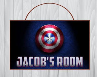 Personalized Captain America Sign, Marvel Captain America Personalized Wooden Sign, Captain America Birthday, Captain America Room Decor