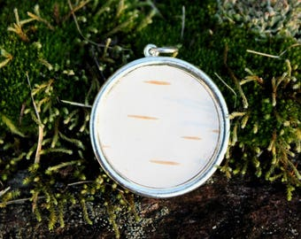 White Birch Pendant in Sterling Silver