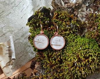 Dainty Copper Birch Bark Earrings