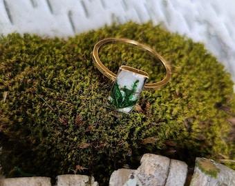 Dainty Rectangle Birch Bark Ring