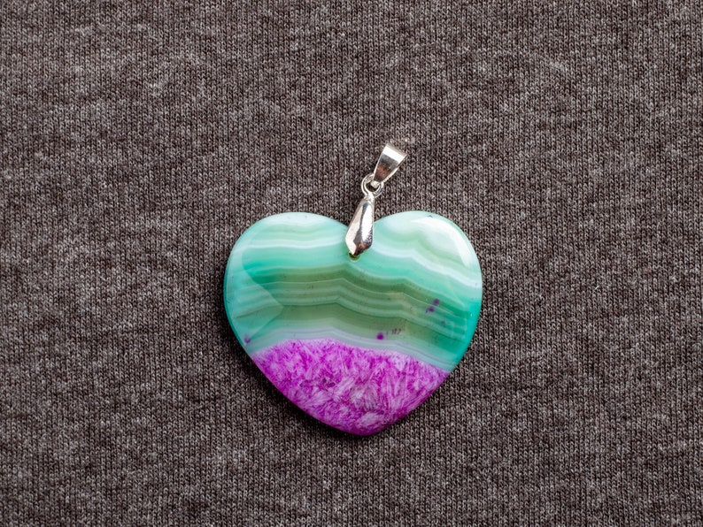 Druzy Geode Agate Slice Stone Green and Pink Druzy Geode Agate Heart Stone Pendant With Silver Plated Bail Natural Stone Pendant