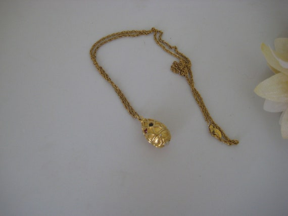 Joan Rivers Faberge Egg Pendant Necklace, Gold Ove