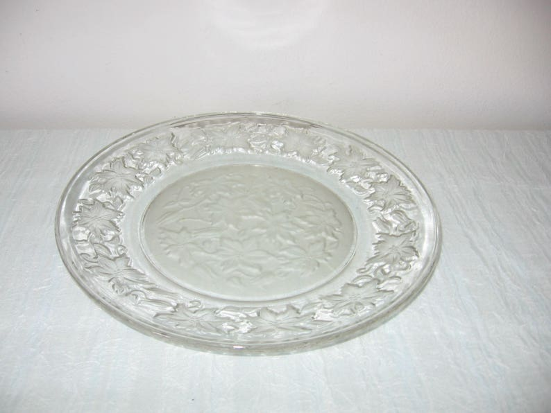 Vintage Christmas Glass Plate Poinsettia Cut Glass Plate With Frosted Glass Bottom