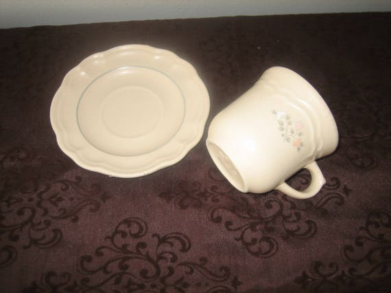 Pfaltzgraff Remembrance Pattern Tea Cup And Saucer Peach White