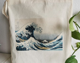 Cotton Cloth Bag, Jute Bag, Jute Bag, Totebag, Art Bag, Wave Waves, Mountain