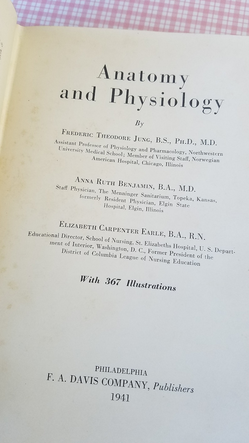 1941 Anatomy and Physiology Textbook book doctor gift nurse gift Medical  Book Textbook vintage text Vintage Anatomy Physiology Professional