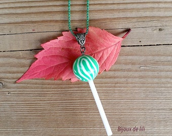 Resin candy lollipop necklace
