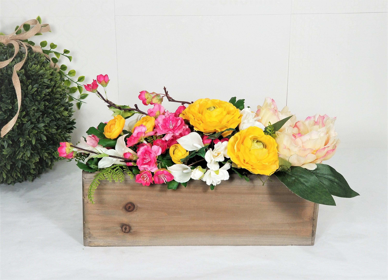 Spring Summer Yellow Pink Silk Flower Arrangements Home Etsy