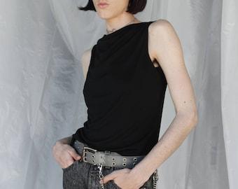 Vintage 90s Minimal Drape Front Black Top / Size S