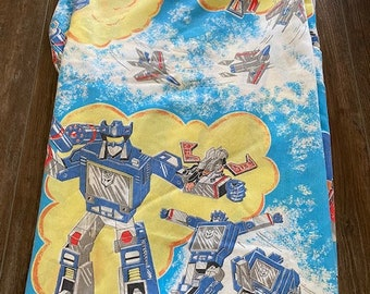 Vintage 1984 Transformers Twin-Size Flat Bed Sheet Optimus Prime Soundwave FABRIC ONLY RIPPED