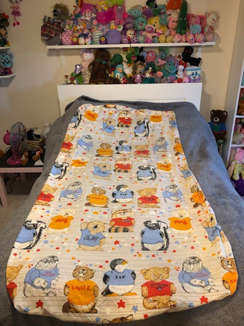 1980 Hallmark Shirt Tales Twin Size Fitted Bed Sheet