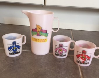 1994 Saban Power Rangers Doll Size Cups and Pitcher