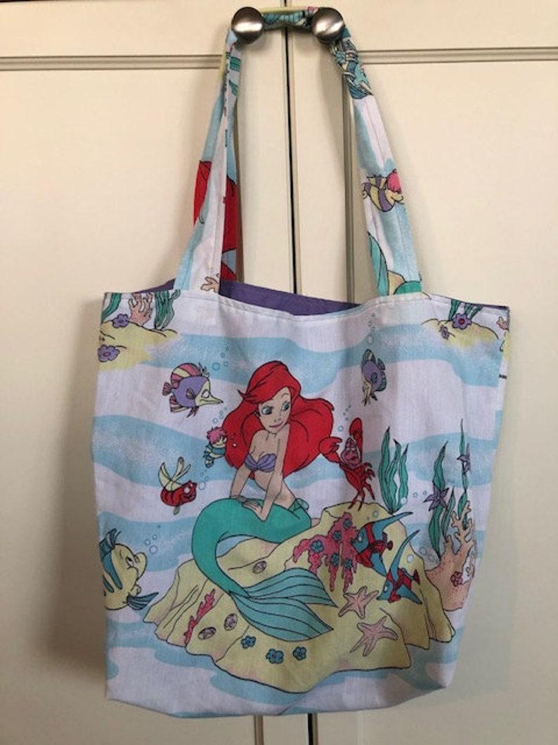 Vintage Disney Ariel The Little Mermaid Material Tote Bag
