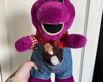 """Vintage 12"""" Plush Barney Farmer Doll with Overalls w Horse Lyons Golden Bear Toy"""