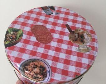 Vintage gingham food cookie tin