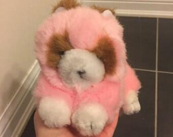 Vintage Pink Raccoon plush toy