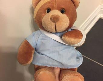 Vintage get well soon sick teddy bear band aid