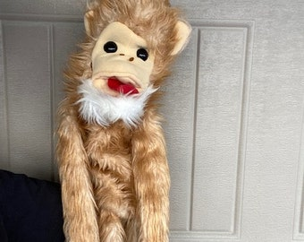 "Rare Vtg 1980 Large 38"" Furry Huggems Hand Puppet Brown Monkey Body Wrap"