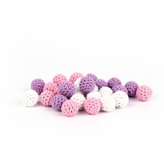 Noir Perle en crochet de Ø 25 mm Perle Ronde