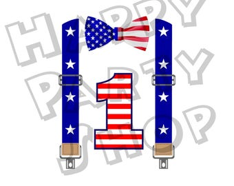 Bow tie with suspenders in colors of the United States flag with personalized any age for printing on a T-shirt