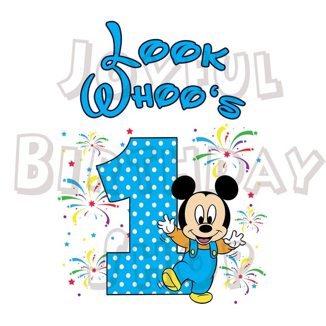 Happy First Birthday Card With Mickey Mouse For Print Etsy