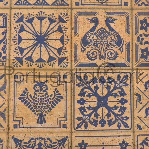 Cork Fabric Printing Tiles Ibiza Ideal For Sewing And Diy Etsy