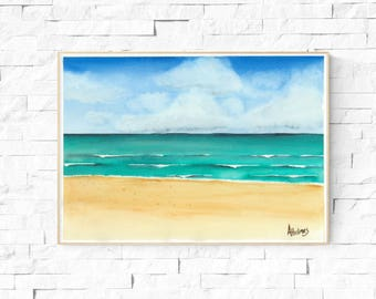 Beach art, *Digital, beach artwork, beach painting, beach watercolor, giclee print, gift ideas, home decor, wall art, seaside art, ocean art