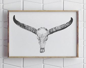 Printable Longhorn Art, Longhorn Print, Contemporary Art, Contemporary Wall Art, Rustic Home Decor, Rustic Wall Decor, Modern Home Decor