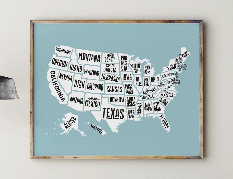 Druckbare Karte von USA Spiel-Raum-Dekor Spielzimmer