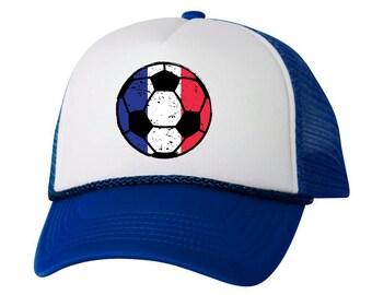 07e043768cd France Soccer Ball Trucker Hat French Hats France Soccer Snapback Hat France  2018 Baseball Cap France Gift for Men and Women French Football