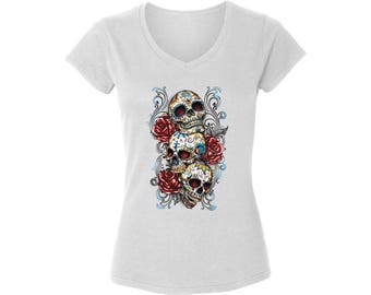 30338ad1 Skull Graphic V-neck Shirts Sugar Skull T shirts Tops for Women Sugar  Skulls Red Roses Day of the Dead Gift