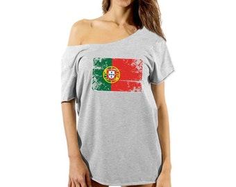 80439af9 Portugal Flag Off Shoulder Shirt Women's Portuguese Flag Baggy Shirt  Portugal Flowy Top Portugal Football 2018 Dolman Top Portuguese Gifts