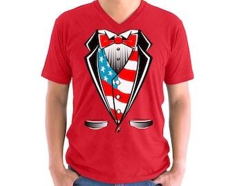 Tuxedo American Flag Youth Kids T shirt Tops USA Patriotic Tuxedo