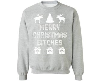 Merry Christmas Bitches Sweatshirt Off Shoulder Stylish Holiday Sweater Oversized Sweater for Her
