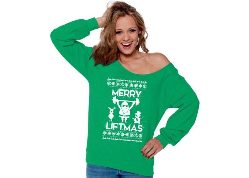 Merry Liftmas Off The Shoulder Sweatshirt Funny Santa Workout Christmas Sweater Workout Fitness Christmas Off Shoulder Top for Women