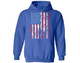 USA Flag Distressed Hooded Sweatshirt Hoodie  Patriotic American 4th of July Independence Day