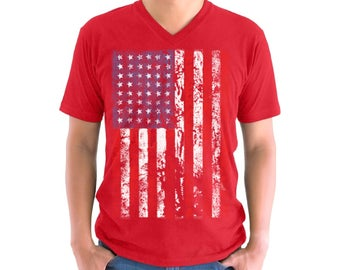 USA Flag Distressed V-neck Shirt T shirt Tops Patriotic American 4th of July Independence Day