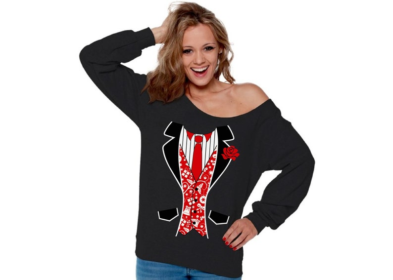Ugly Christmas Sweatshirt Off Shoulder Christmas Tuxedo Sweater Party Outfit.