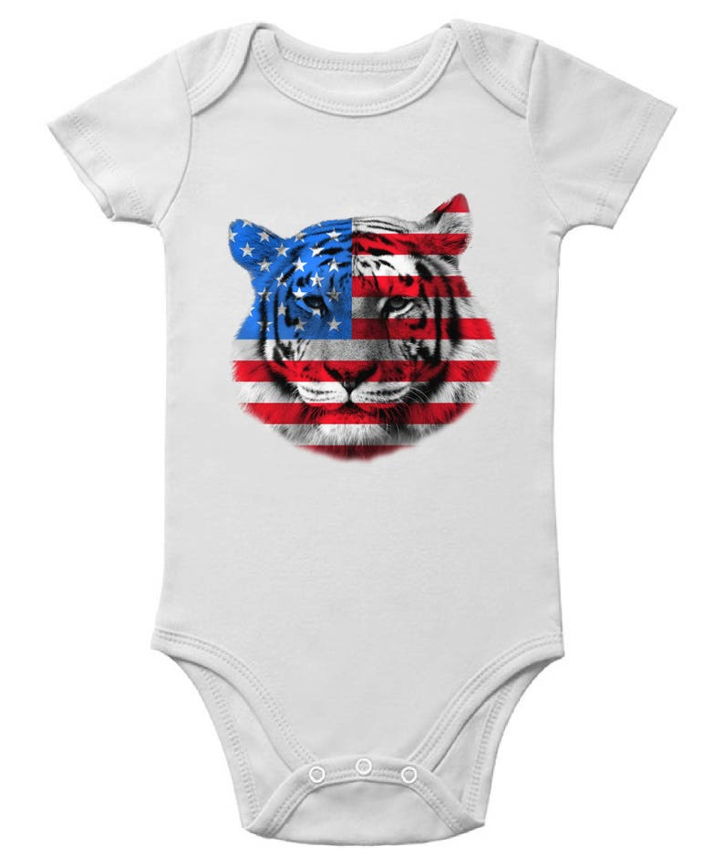 USA Flag Tiger Bodysuits Baby Short Sleeve One Piece Tops Independence Day Gift 4th of July Tiger Patriotic