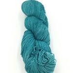 Teal 5 - Hand Dyed Yarn, by Kiilerich, Merino, Gold Stellina, Alpaca, Silk, Cashmere, Nylon,  Fingering, Sock, Lace Weight
