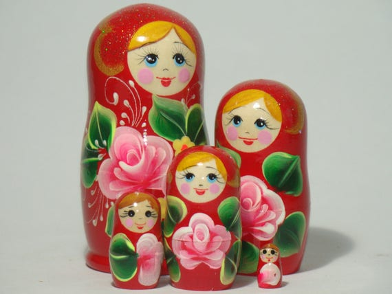"""red 4/"""" // 10 cm Russian Matryoshka with Pink Flowers 5 pcs"""