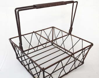 Vintage Wire Basket, Wire Basket, Unique Basket, Farmhouse Basket, Rustic Basket, Industrial Metal Basket, Farmhouse Storage