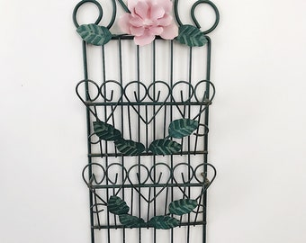 Vintage Metal Rose Key and Mail Holder, Vintage Floral Organizer, Jewelry Holder , Metal Hook Entryway, Green Key Holder, Key Basket