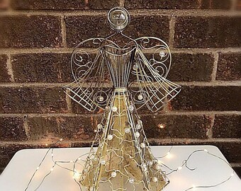 Beautiful Vintage Gold Metal Beaded Angel Tree Topper, Vintage Metal Angel Decor ,Christmas Angel ,Gold Tree Topper