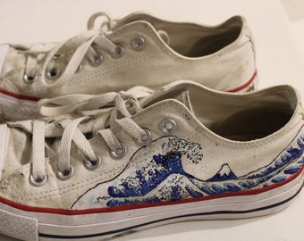 efe45bfdc983 The Great Wave Hand Painted Custom To Order Converse Low Tops